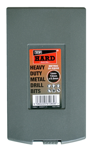 Photo of plastic case containing 25 piece metric metal drill bit set 1mm-13mm x 0.5mm by TTP HARD drills
