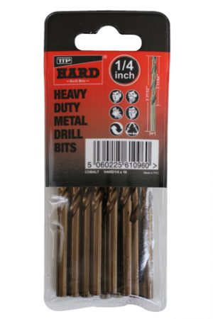 "Photo of packet of 10 x 1/4"" cobalt drill bits by TTP HARD drills"