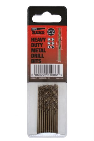 "Photo of packet of 10 x 3/32"" cobalt drill bits by TTP HARD drills"