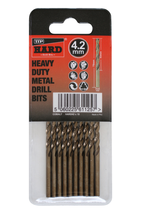 Photo of packet of 10 x 4.2mm cobalt drill bits by TTP HARD drills