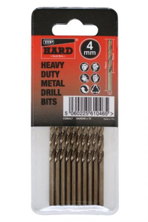 Photo of packet of 10 x 4mm cobalt drill bits by TTP HARD drills