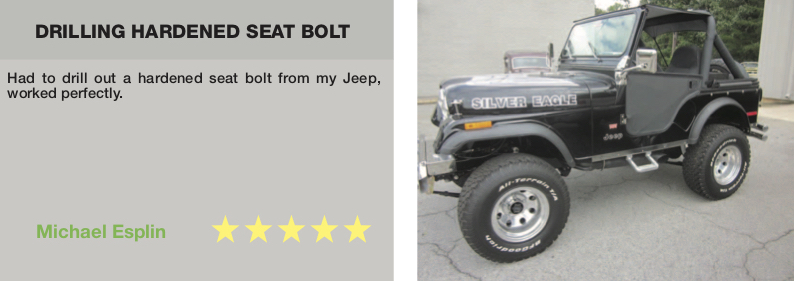 testimonial for TTP HARD cobalt drill bits drilling through hardened seat bolt